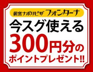 今すぐ使える300円分のポイントプレゼント